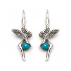 Boucle d'oreille fée turquoise