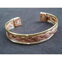 Bracelet cuivre 3 couleurs entrelac aimanté