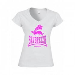 T-shirt femme Savbreizh blanc col v