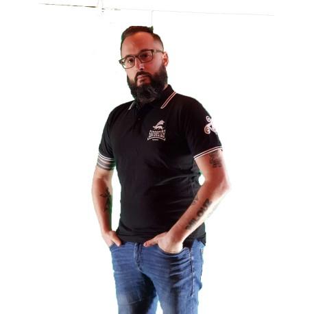 Polo Savbreizh logo noir bande blanche gwen ha du