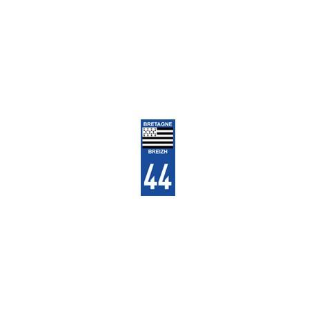 Autocollant  plaque immatriculation auto 44