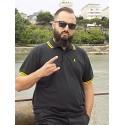 Polo noir bande jaune Savbreizh